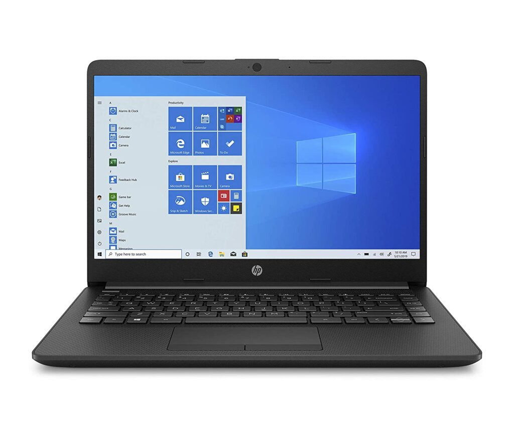 Processor: Intel Core i3-1005G1(1.2 GHz base frequency, up to 3.4 GHz with Intel Turbo Boost Technology, 4 MB L3 cache, 2 cores) Operating System & Preinstalled Software: Windows 10 Home | Microsoft Office Home & Student 2019 | In the box: Laptop with included battery, charger Display: 14-Inch (1366 x 768) diagonal HD, SVA, BrightView micro-edge, WLED Display Memory & Storage: 8 GB DDR4-2666 SDRAM (1 x 8 GB) | 256 GB PCIe NVMe M.2 SSD Graphics: Intel UHD Graphics Design & Battery: Thin and light design | Laptop weight: 1.47 kg | Average battery life = 7 hours, 3-cell, 41 Wh Li-ion Fast Charge Battery Camera & Microphone: HP TrueVision HD camera with integrated dual array digital microphone Ports: 1 SuperSpeed USB Type-C (5Gbps), 2 SuperSpeed USB Type-A (5Gbps), 1 HDMI 1.4b | Without CD-Drive