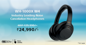 Sony WH-1000XM4 Wireless Bluetooth Over The Ear Headphones with Mic (Black)