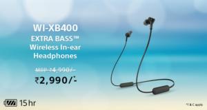 Sony WI-XB400 Wireless Bluetooth in Ear Neckband Headphone with Mic (Black)